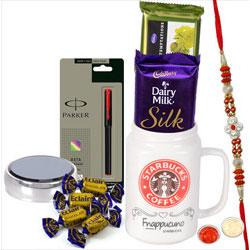 Present of Fancy Rakhi, Parker Pen, Cadbury Chocolates Assortments N Roli Teeka N Chawal