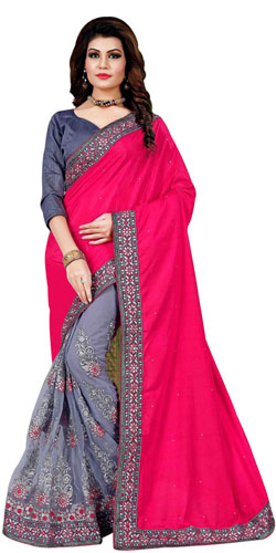 Lovely Sizzle Pink Mono Net Silk Saree