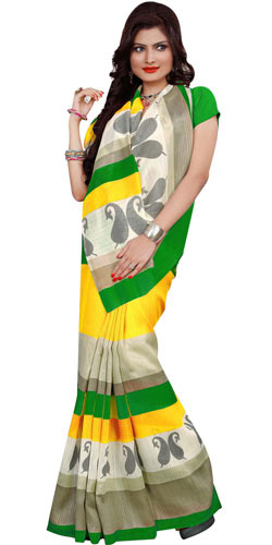 Exclusive Rainbow Chiffon N Crepe Printed Saree for Women