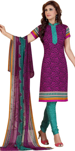 Attractive Crepe and Chiffon Fabric Printed Salwar Suit from Siya