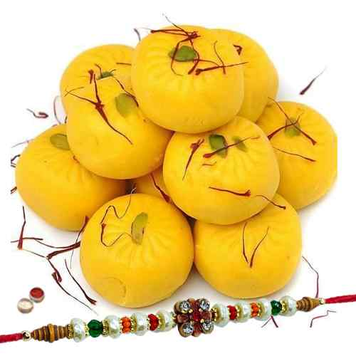 Sweet time for Rakshabandhan with Kesaria Pedas from <font color=#FF0000>Haldiram</font> and 1 Free Rakhi, Roli Tilak and Chawal