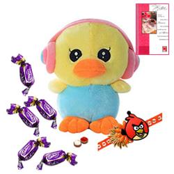 Crazy Duck with Earphone with Angry Bird Rakhi and Chocolates Roli Tilak Chawal