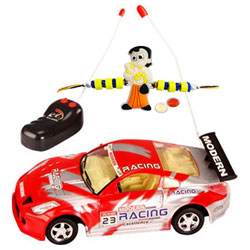 Remote Control Toy Car Gift with Rakhi and Roli Tilak Chawal