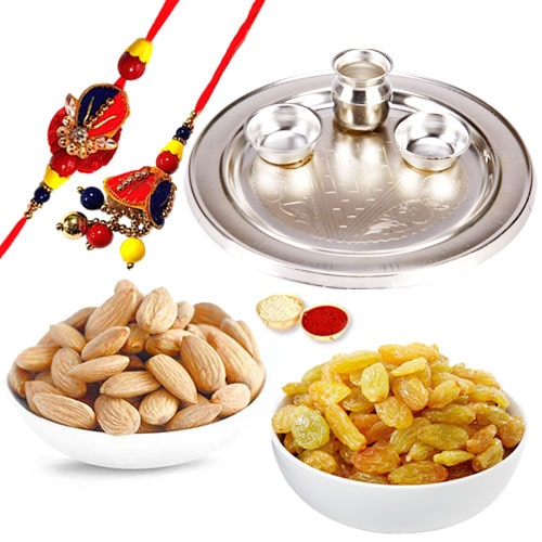 Silver Plated Rakhi Thali with 1 set Bhaiya n Bhabhi Rakhi and 200 Gms. Almonds and Raisins