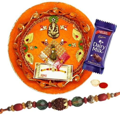 Charming  Rakhi With Rakhi Thali