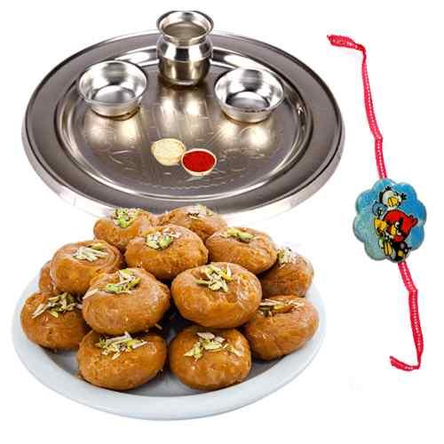 Exclusive Combo of 1 Rakhi Thali N 1 Kids Rakhi with Pack of Balushahi