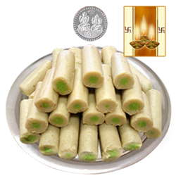 Kaju Pista Roll with Silver Plated Coin