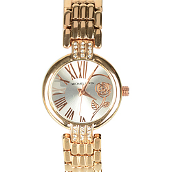 Showy Stone Studded Golden Wrist Watch for Ladies