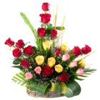 Expressive 24 Mixed Roses in a Basket