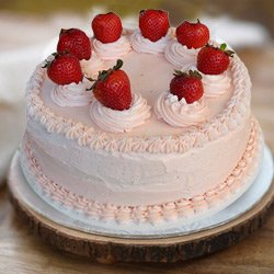 Indulgent 1 Lb Strawberry Cake from 3/4 Star Bakery to Memnagar Ahmedabad