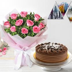 Tempting 10 Pink Roses and 1/2 Kg Eggless Chocolate Cake to Valsad