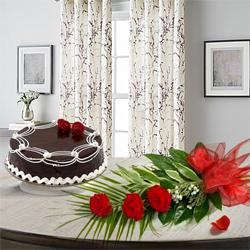 Magnificent 3 Red Roses with 1/2 Kg Chocolate Cake to Dholka H O