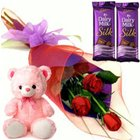 Admirable Small Teddy, Roses and Dairy Milk Silk Chocolate Bars to Mehmadabad