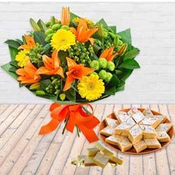 Soft Kaju Barfi Delights with Bouquet of Seasonal Flowers