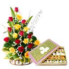 Tropical 20 Colorful Roses and Welcome Treat of 500 Gr. Sweets