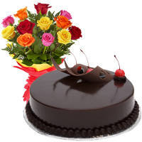 Beautiful Love Surprises 12 Mixed Roses Bunch with Chocolate Cake to Gita Mandir Road