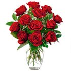 Captivating Red Roses in a Vase with Love to Sub Foreign
