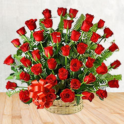 Exotic 50 Red Roses Passionate Bouquet to Koth Gangad