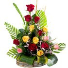 Glorious 15 Mixed Roses in a Beautiful Bouquet to Revdi Bazar H O