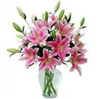Expressive Lilies in Pink Color with Vase to Somnath