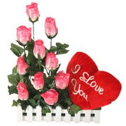 Long Lasting – Pink Roses n Red Heart