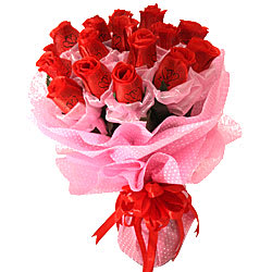 Expressive 15 Red Roses Artificial Arrangement with Affectionate Love