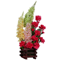 Gorgeous Gift of Art Pink Carnations N Long Floral Stem decorated in a Basket