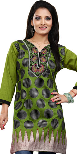 Gorgeous Green Printed Crepe Silk Kurti