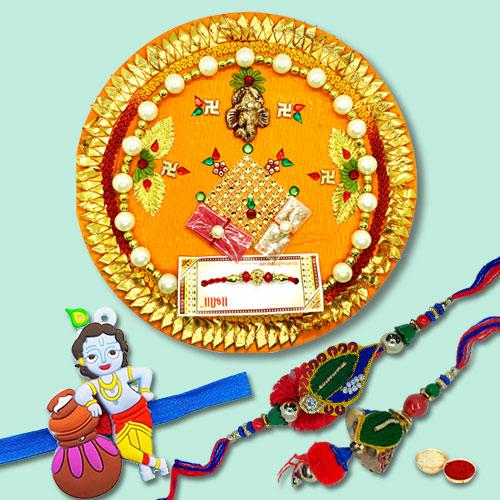 Traditional Rakhi Thali with Three Family Rakhi Set