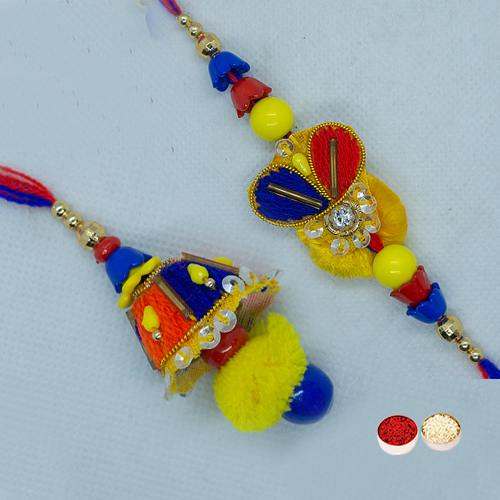 Designer Bhaiya Bhabhi Rakhi Set Filled with Happiness