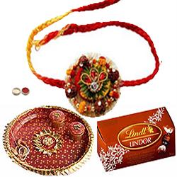 Prepossessing Combo of Rakhi, Rakhi Thali  N Lindt Chocolate
