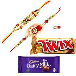 Awesome Combo of 2 Rakhi With Cadbury Chocolate N Twix