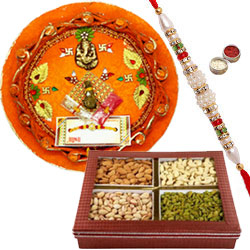Beatific Rakhi With Pooja Thali And Mixed Dry Fruits