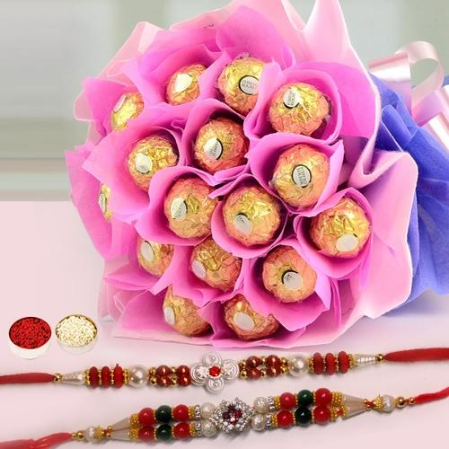 Deep Love Chocolate Bouquet with Free 2 Rakhis and Roli Tilak Chawal