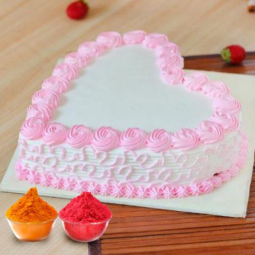 Fresh Baked Heart Shaped Cake  Filled with Soft Creams from top local bakery in the city with free Gulal/Abir Pouch.