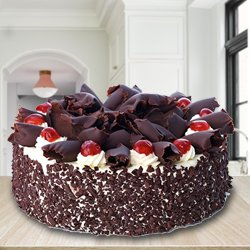 Lip-Smacking 2.2 Lbs Black Forest Cake with Decoration from 3/4 Star Bakery