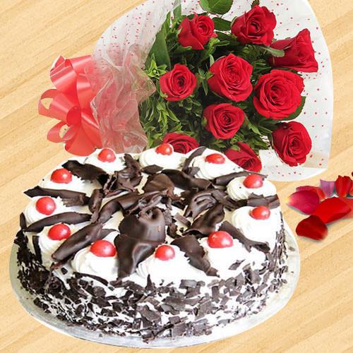 Deliver Red Roses Bouquet N Black Forest Cake Online