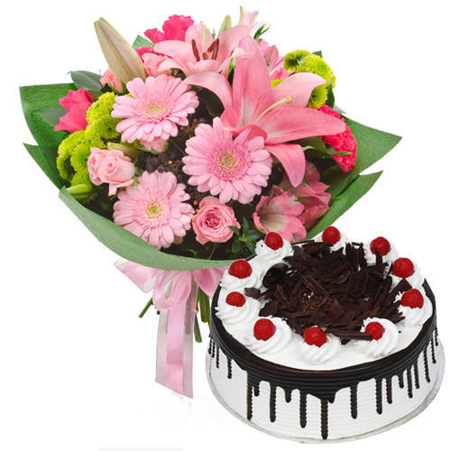 Order Online Mixed Flowers Bunch with Black Forest Cake