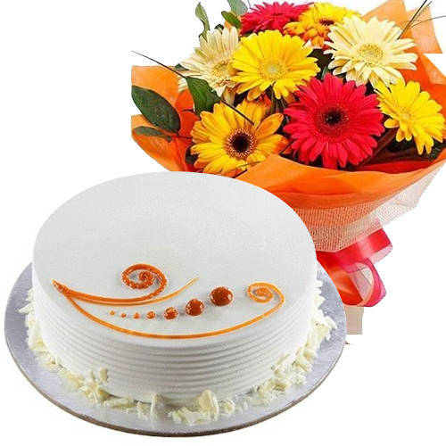 Send Online Mixed Flowers Bouquet N Vanilla Cake