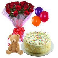 Exquisite Combo of Balloons with Small Teddy, Vanilla Cake & a Bouquet of Red Roses.