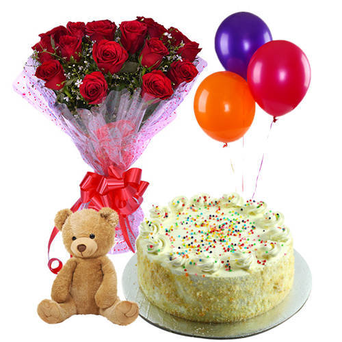 Online Combo of Vanilla Cake with Red Roses, Teddy N Balloons