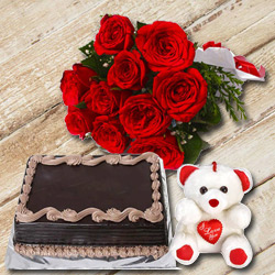 Blooming Bouquet of Red Roses with Small Teddy nd a Chocolate Cake