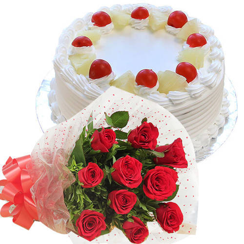 Deliver Combo Gift of Red Roses Bouquet N Pineapple Cake Online