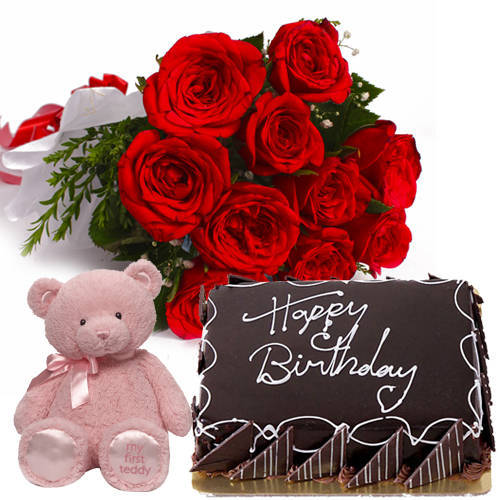 Gift Eggless Choco Cake with Red Roses Bouquet N Teddy Online