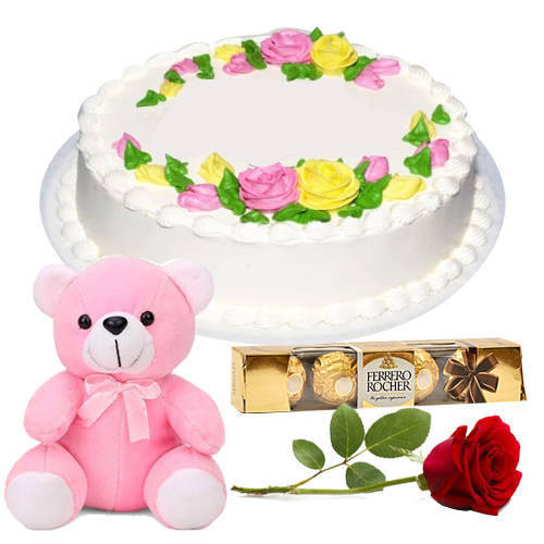 Book Eggless Vanilla Cake with Red Rose, Teddy N Ferrero Rocher
