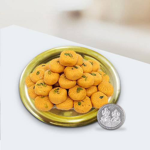 Haldirams Ladoo N Gold Plated Thali , Free Coin
