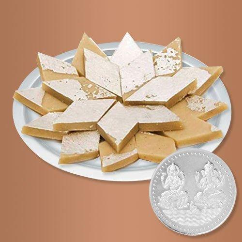 Haldirams Badam Katli N Gold Plated Thali , Free Coin