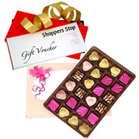 Splendid Gift Combo of Shoppers Stop Gift Voucher worth Rs.1000 with 24 Pc. Homemade Assorted Chocolate