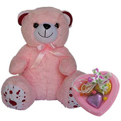 Delightful Miss You Gift of Teddy N Heart Shape Handmade Chocolates