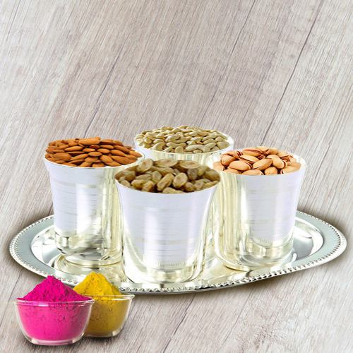 Dry Fruits in Silver Glass and Tray with free Gulal/Abir Pouch